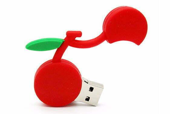Clé USB Cerise création sur mesure en PVC personnalisation logo